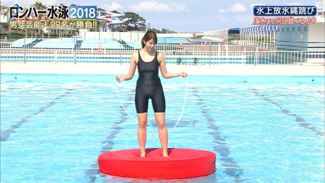 【お宝キャプ画像】女性タレントがロンドンハーツ水泳大会で競泳水着でハイレグ大開脚しちゃったwwww 31