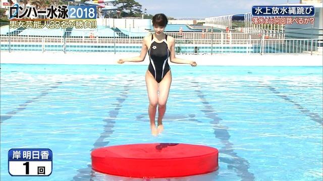 【お宝キャプ画像】女性タレントがロンドンハーツ水泳大会で競泳水着でハイレグ大開脚しちゃったwwww 46
