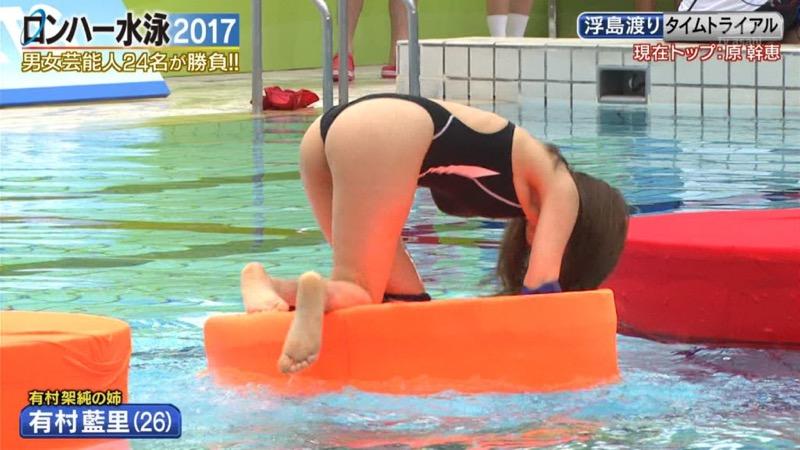 【お宝キャプ画像】女性タレントがロンドンハーツ水泳大会で競泳水着でハイレグ大開脚しちゃったwwww 76