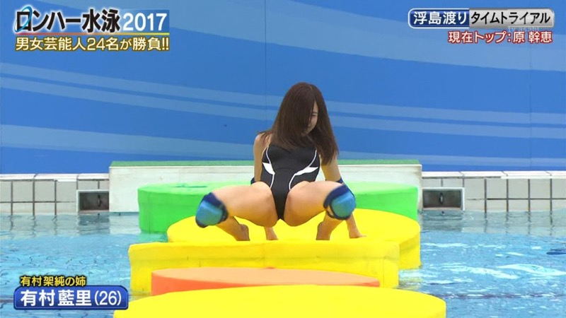 【お宝キャプ画像】女性タレントがロンドンハーツ水泳大会で競泳水着でハイレグ大開脚しちゃったwwww 80