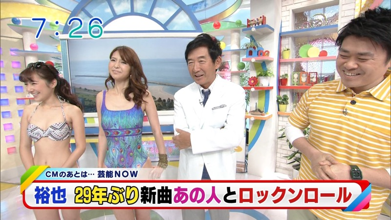 【放送事故ポロリ画像】際どい水着でテレビ出演したせいでオッパイとマンコが見えそうなんだがwwww 42