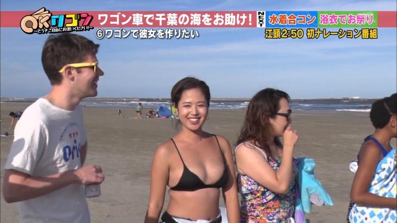 【放送事故ポロリ画像】際どい水着でテレビ出演したせいでオッパイとマンコが見えそうなんだがwwww 88