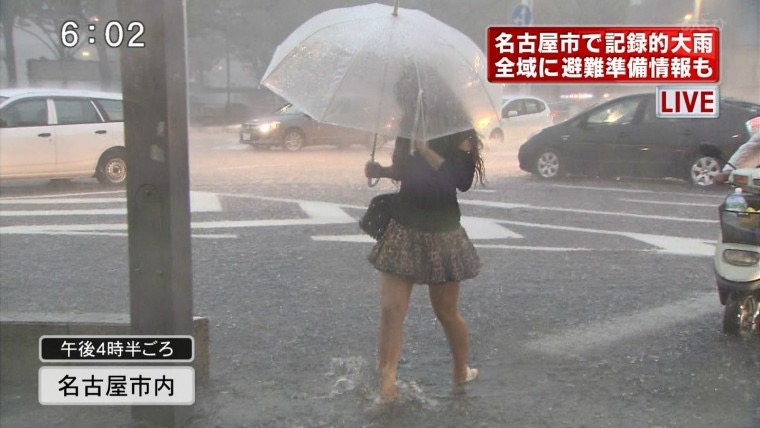 【台風エロ画像】容赦なく襲ってくる強風や豪雨に翻弄される女性達のパンチラ放送事故! 59