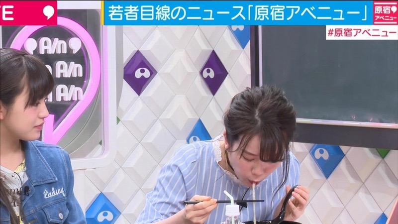 【放送事故フェラ画像】明らかにチンポをしゃぶってる事を妄想しながら食レポしてる女子アナwwww 07