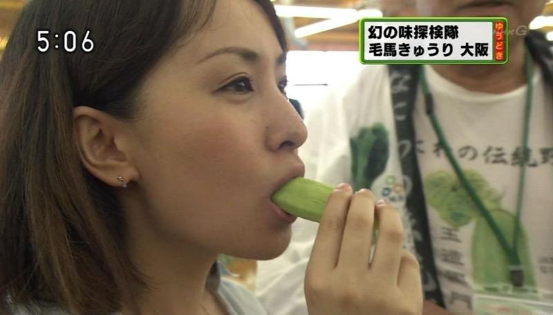 【放送事故フェラ画像】明らかにチンポをしゃぶってる事を妄想しながら食レポしてる女子アナwwww 70