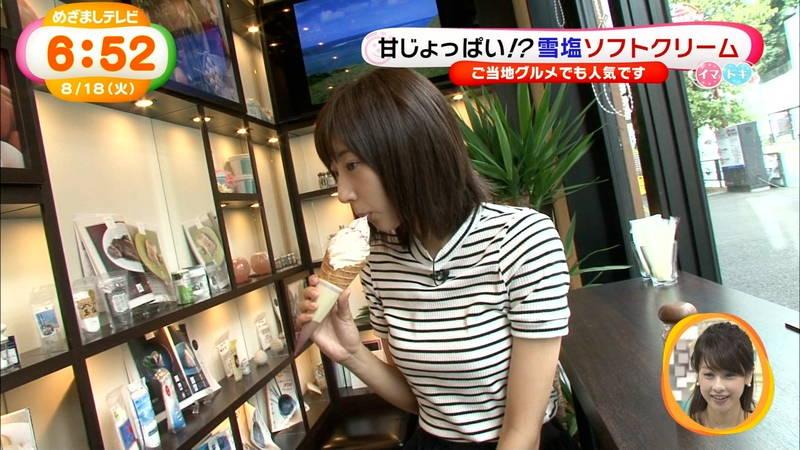 【武田玲奈キャプ画像】ソフトクリームの食レポしている武田玲奈のおっぱいの成長具合www