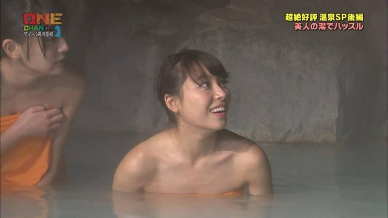 【温泉キャプ画像】タオル一枚なのを忘れて温泉を楽しむアイドルたちwww 05