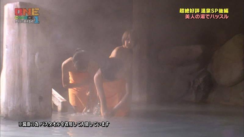【温泉キャプ画像】タオル一枚なのを忘れて温泉を楽しむアイドルたちwww 29