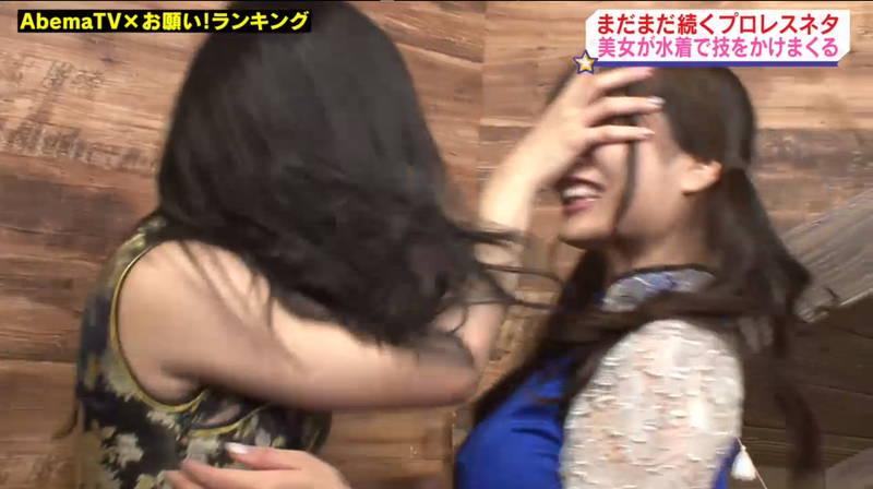 【キャットファイトキャプ画像】石川あんなと葉月佐和がビキニとチャイナドレスで戦うwww 21