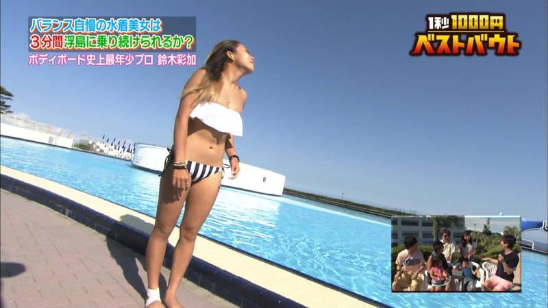 【ギャルキャプ画像】こんがり日焼けしたギャルが水上でバランス対決した結果www 15