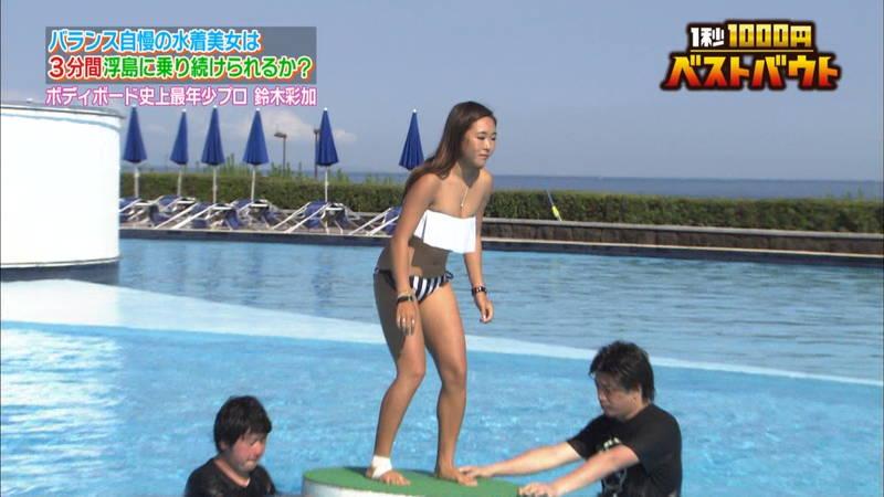 【ギャルキャプ画像】こんがり日焼けしたギャルが水上でバランス対決した結果www 16