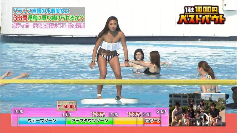 【ギャルキャプ画像】こんがり日焼けしたギャルが水上でバランス対決した結果www 18
