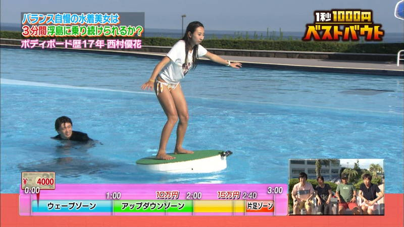 【ギャルキャプ画像】こんがり日焼けしたギャルが水上でバランス対決した結果www 22