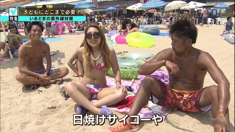 【素人キャプ画像】関東のビーチでパーリー状態になっている素人達のビキニ姿www 04