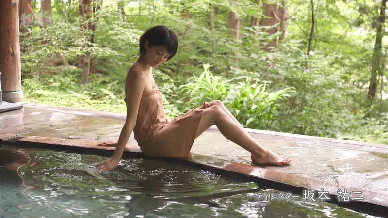【梨木まいキャプ画像】谷間すら楽しめないガッチリガードの梨木まいが温泉入浴!w