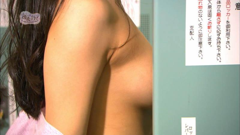 【美尻キャプ画像】例の全裸で入浴する番組でムッチリ美尻を大胆披露する美女www 08