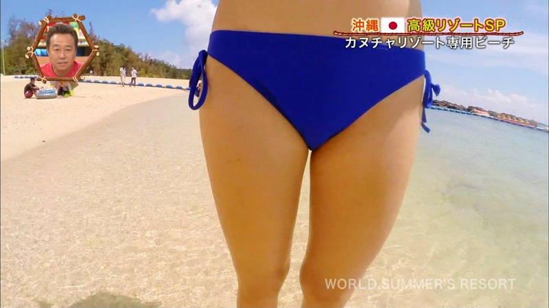 【素人キャプ画像】沖縄の海を布面積少ないビキニでレポートしてくれる素人娘www 13