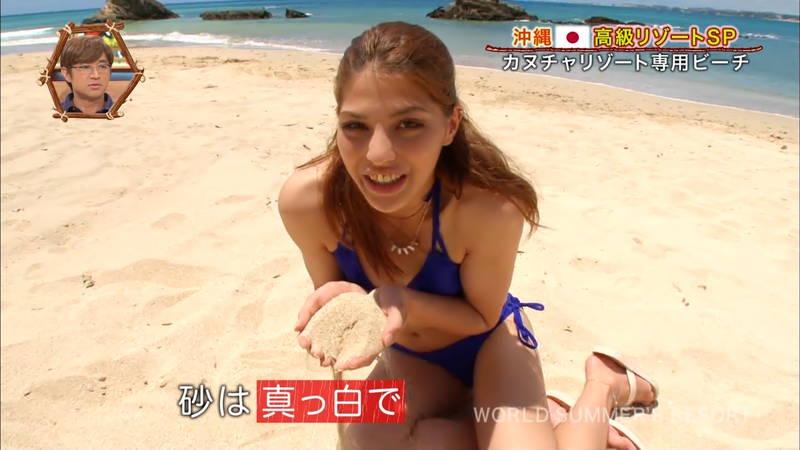 【素人キャプ画像】沖縄の海を布面積少ないビキニでレポートしてくれる素人娘www 17