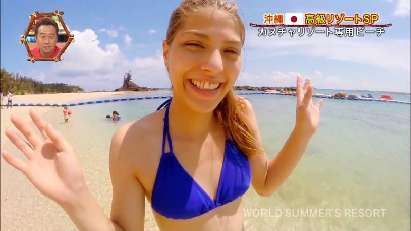 【素人キャプ画像】沖縄の海を布面積少ないビキニでレポートしてくれる素人娘www 18