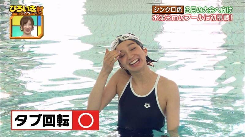 【菊池亜美キャプ画像】スク水とも言える紺色の競泳水着姿の菊池亜美があざといwww 04