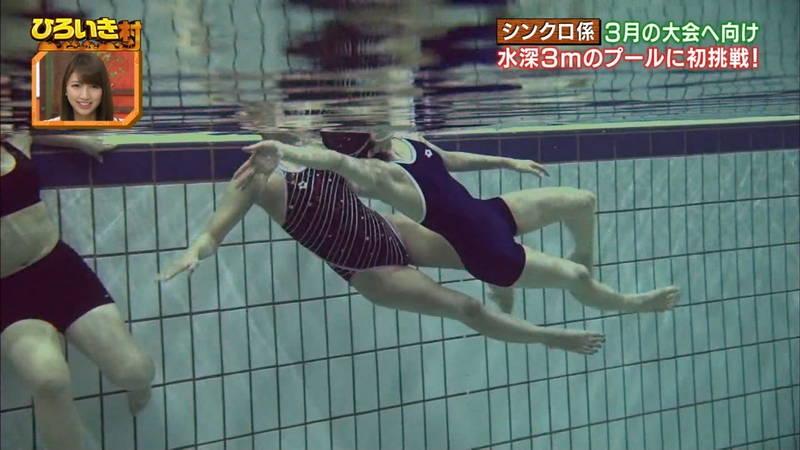 【菊池亜美キャプ画像】スク水とも言える紺色の競泳水着姿の菊池亜美があざといwww 13