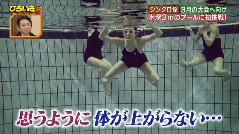 【菊池亜美キャプ画像】スク水とも言える紺色の競泳水着姿の菊池亜美があざといwww 15