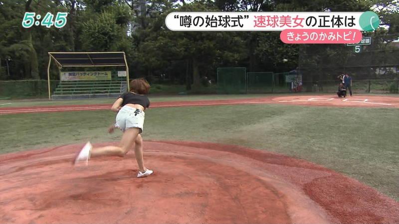 【稲森亜美キャプ画像】始球式のために真剣に練習している稲森亜美の健康的なエロさwww 04