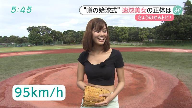【稲森亜美キャプ画像】始球式のために真剣に練習している稲森亜美の健康的なエロさwww 05