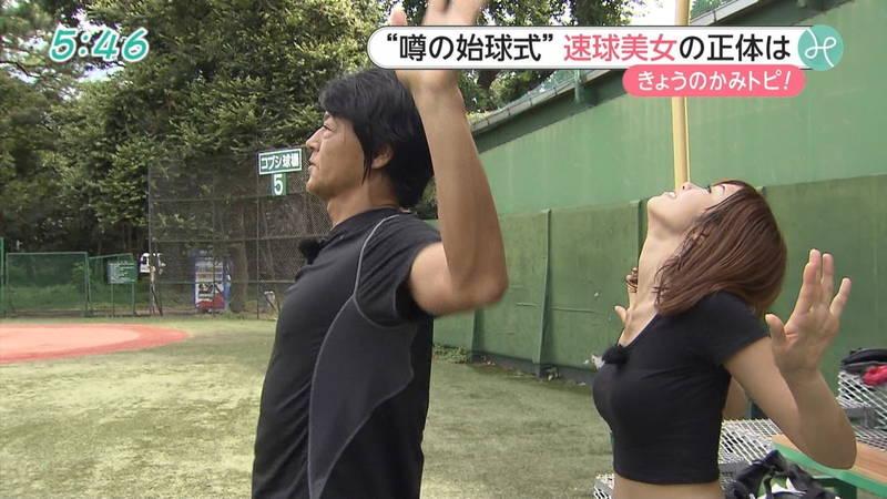【稲森亜美キャプ画像】始球式のために真剣に練習している稲森亜美の健康的なエロさwww 10