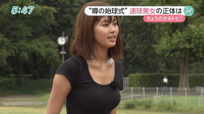 【稲森亜美キャプ画像】始球式のために真剣に練習している稲森亜美の健康的なエロさwww 17