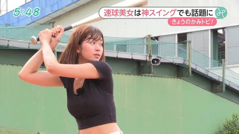 【稲森亜美キャプ画像】始球式のために真剣に練習している稲森亜美の健康的なエロさwww 21