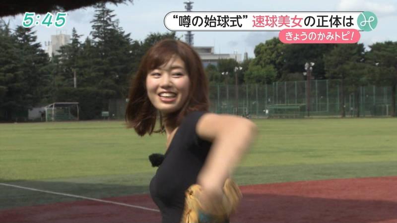 【稲森亜美キャプ画像】始球式のために真剣に練習している稲森亜美の健康的なエロさwww 30