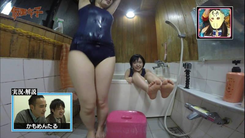 【ハミ尻キャプ画像】スクール水着で入浴するアイドルのあざとさが半端ないwww 16
