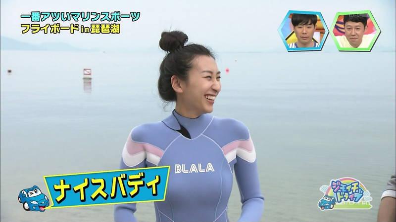【浅田舞キャプ画像】巨乳が目立ちすぎるウェットスーツでおっぱいアピールがすぎる浅田舞www