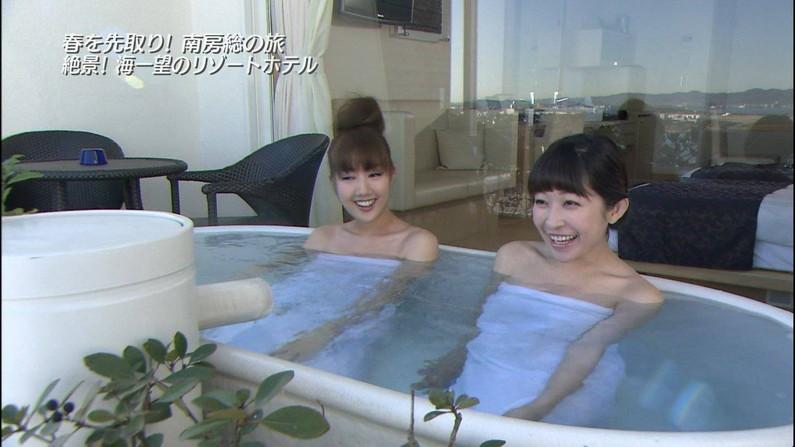 【温泉キャプ画像】温泉レポで見れるタレントさん達のハミ乳ってやっぱエロいよなw 05