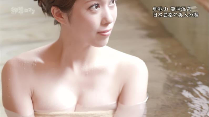 【温泉キャプ画像】温泉レポで見れるタレントさん達のハミ乳ってやっぱエロいよなw 19