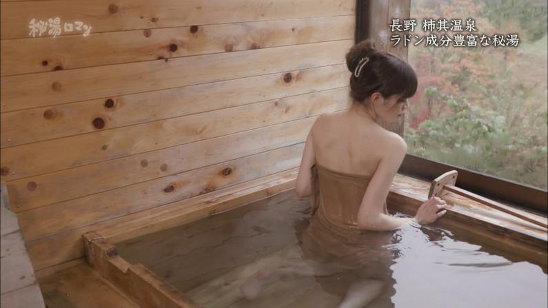 【温泉キャプ画像】タレントさん達がハミ乳し放題の温泉レポートw 19