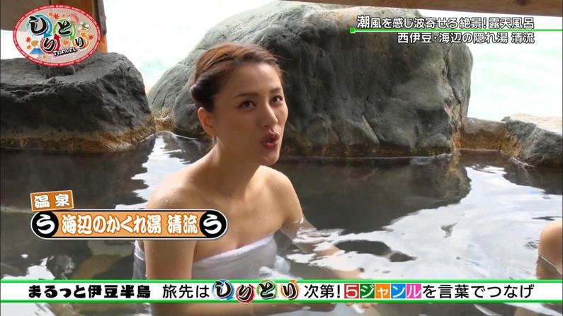【温泉キャプ画像】テレビでタレントがお風呂入ってたらやっぱりオッパイにしか目が行かないよなw 11