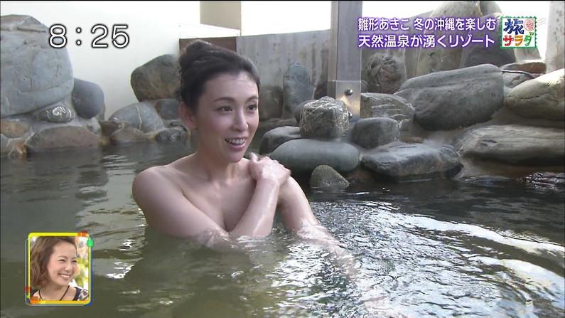 【温泉キャプ画像】建前は温泉レポとか言うが事実上女性タレントの入浴姿を拝めるエロ企画w