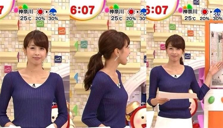 【着衣オッパイキャプ画像】服着てても目立っちゃう巨乳女子アナ達ww 09