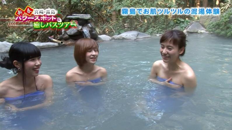 【温泉キャプ画像】タレント達が乳首ギリギリの所でバスタオル巻いてる温泉レポw 13