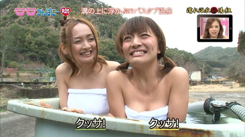 【温泉キャプ画像】タレント達が乳首ギリギリの所でバスタオル巻いてる温泉レポw 17