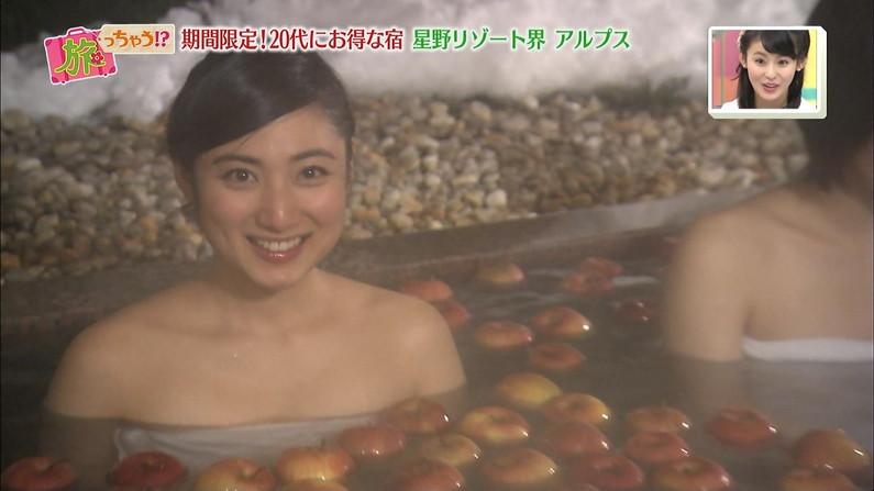 【温泉キャプ画像】ポロリの期待値高まる巨乳タレントの温泉レポww 09