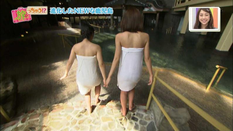 【温泉キャプ画像】ポロリの期待値高まる巨乳タレントの温泉レポww 11
