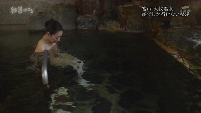 【温泉キャプ画像】ポロリの期待値高まる巨乳タレントの温泉レポww 17