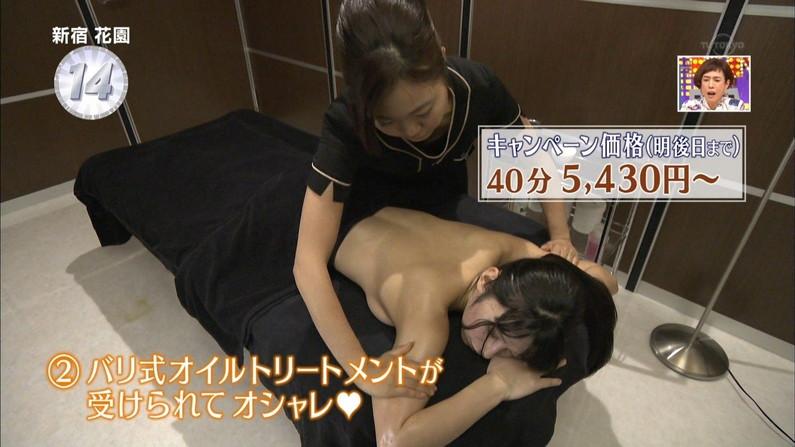 【エステキャプ画像】テレビでエステ受けてるタレント達って乳首にシールとか貼ってるのか?ww 16