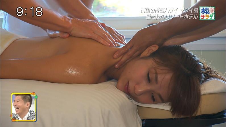 【エステキャプ画像】テレビでエステ受けてるタレント達って乳首にシールとか貼ってるのか?ww 18
