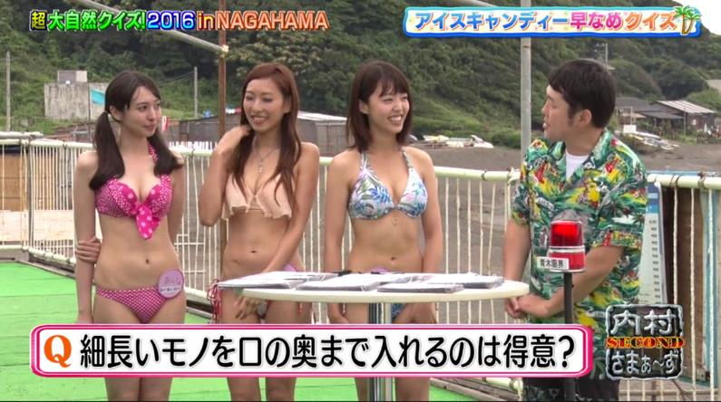【水着キャプ画像】テレビなのにポロリもかえりみず水着から乳房はみ出しまくってるタレント達w 12