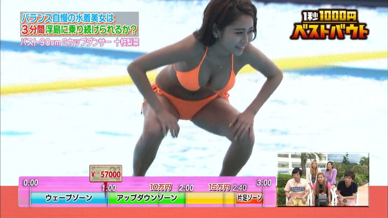 【水着キャプ画像】テレビなのにポロリもかえりみず水着から乳房はみ出しまくってるタレント達w 20