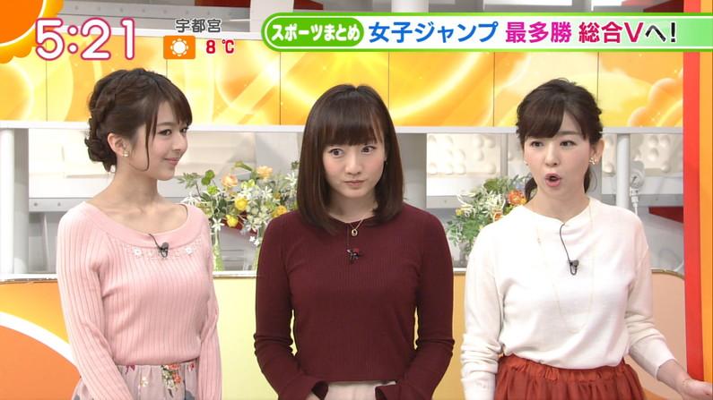 【着衣オッパイキャプ画像】ニットセーター着て巨乳を強調するタレント達w 11